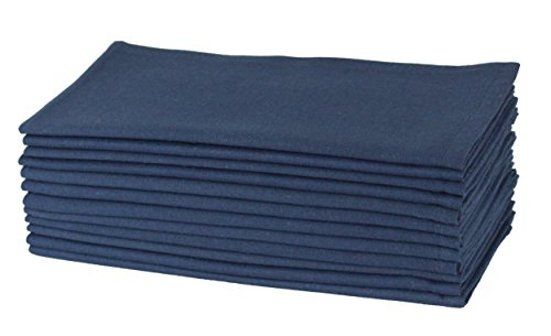 Cotton Craft Napkins, 12 Pack Oversized Dinner Napkins 20x20 Navy, 100% Cotton, Tailored with Mitered corners and a generous hem, Napkins are 38% larger than standard size napkins - Denim Napkins
