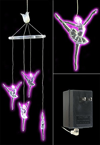 22' Classroom Decoration (Ballerina Dancer Mobile Hanging Decoration - Pink LED Lighted Clear Acrylic Figurines - Birthday Gift for Girl - Baby Nursery Room Decor)