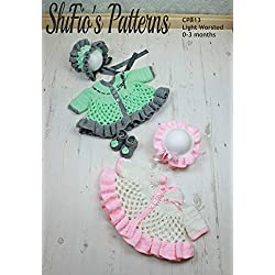 Crochet Pattern for Baby Matinee Jacket and Bonnet and Shoes 0 to 3 Months CP313