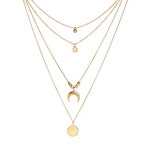 Wisslotus Bohemia Layered Necklace Multilayer Choker Necklaces Crescent Moon Coin Pendant Long Chain Minimalist Y Necklace for Women (Rose ()