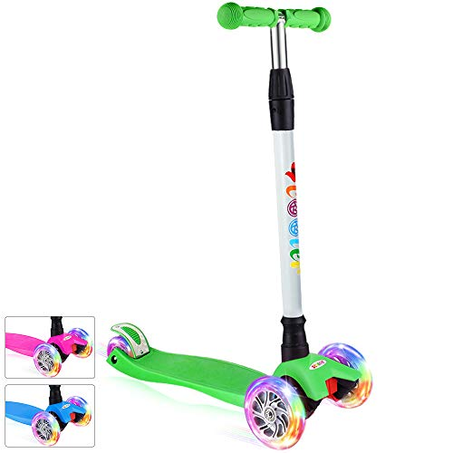 BELEEV Kick Scooter for Kids 3 Wheel Scooter, 4 Adjustable Height, Lean to Steer with PU LED Light Up Wheels...