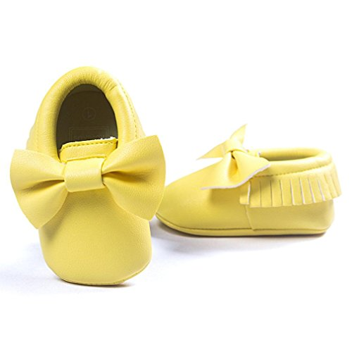 bescita Baby Krippe Quasten Bowknot Schuhe Sneakers Casual Rutschfeste Schuhe (13, Gelb)