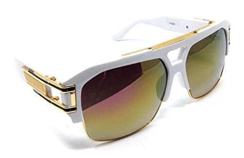 - Gazelle B-Boy Square Metal & Plastic Retro Aviator Sunglasses (White & Gold Frame, Gold Flash Mirror)
