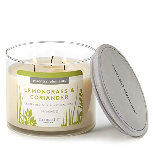 Wick 3 Jar Candle (Essential Elements by Candle-Lite Scented Lemongrass & Coriander 3-Wick Jar Candle, 14.75 oz, Off White)
