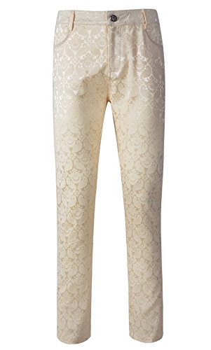 Mens Trousers Pants Brocade VTG Gothic Aristocrat Steampunk Side Braiding Trim (M, Cream) (Mens Brocade)