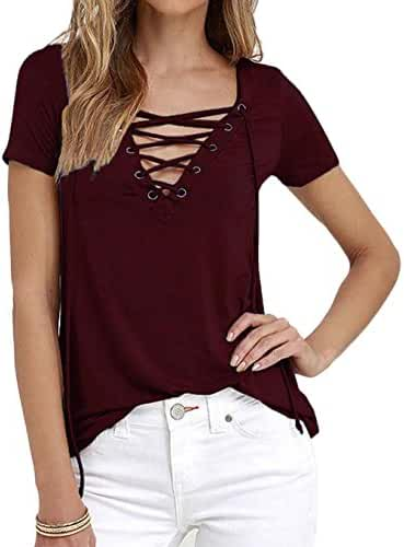 Women's Sexy Plain Deep V Neck Lace Up Short Sleeve Blouse Top