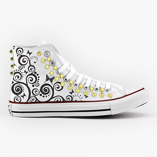Converse Personalizzate con borchie All Star Alta - scarpe artigianali - Farfalle Multicolor
