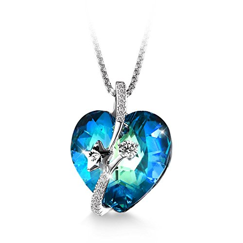 T400 Jewelers Shooting Star Heart Necklace for Women (Nermuda Blue) ()