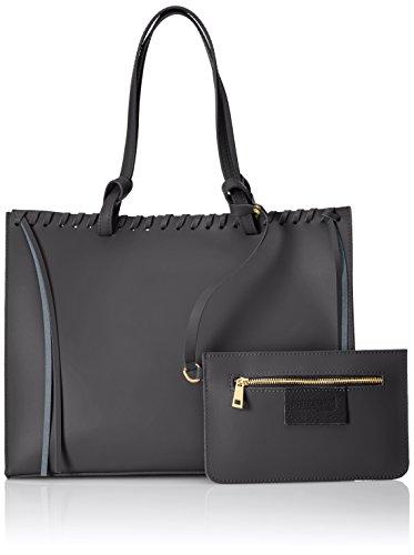 CTM bolso de mano para mujer con bolsa en el interior desmontable, de piel genuina hecho en Italia, recubierto de corcho - 38x30x15 Cm Negro (Nero)