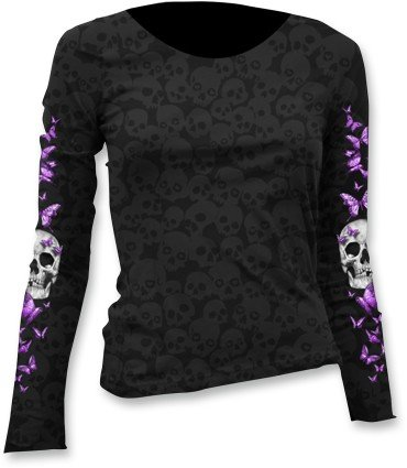 Lethal Threat Women's Long Sleeve Shirt (Butterfly Skull Burnout Ls)(Black, Large), 1 Pack