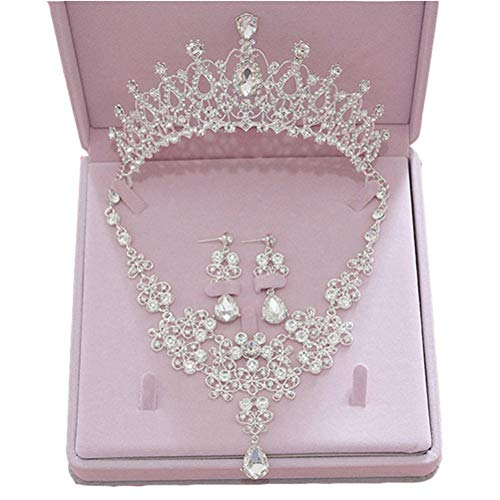 Ever Girl Bling Bride Hair Accessories Tiaras Earrings Necklace Wedding Sets A