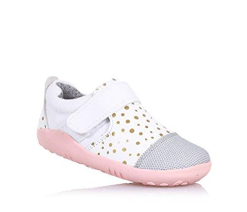 Bobux - Sapato Branco I-pé Menina Ativa Com Padrão Getüpfeltem De Ouro, De Couro E Tecido, Extremamente Flexível,