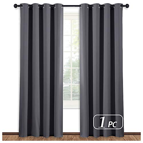 NICETOWN Blackout Blind Curtain Window Treatment - (Gray/Grey Color) Thermal Insulated Drape Shade with Grommet for Sliding Glass Door, W52 x L84 Inch, 8 Grommets/Rings Top, 1 - Door Panel Dark