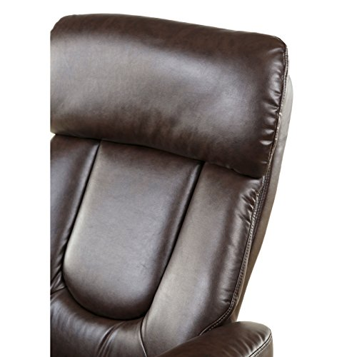 Relaxzen Basic Bonded Leather Recliner with Ottoman, Brown (That Swivel Recliners)