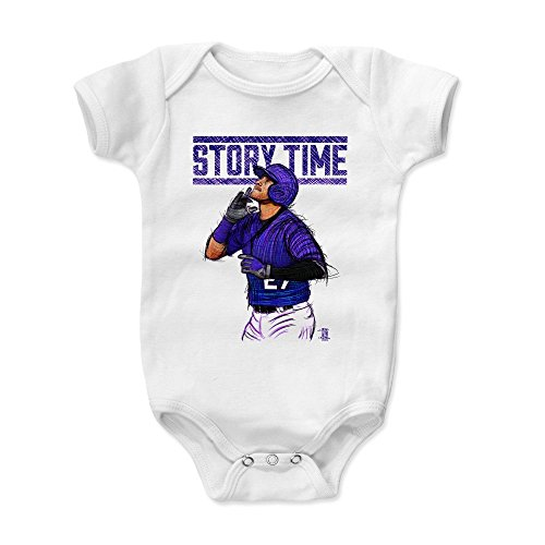 500 LEVEL Trevor Story Baby Clothes, Onesie, Creeper, Bodysuit 6-12 Months White - Colorado Baseball Baby Clothes - Trevor Story Time P