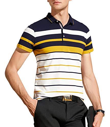 XTAPAN Men's Short Sleeve Polo Shirt Casual Striped Polo Golf T Shirt Tag XL 8059 -