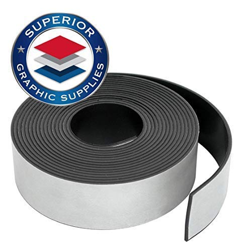 Superior Graphic Supplies Flexible Magnetic Tape - Self Adhesive Magnetic Tape Roll | 30 Mil(0.03'') Thick, Adhesive, 1 Roll Pack (.5 x 100') by Superior Graphic Supplies