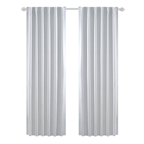 Block 90 Tabs - Deconovo Solid Back Tab Curtains Blackout Curtains Thermal Insulated Drapes and Curtains Room Darkening Curtains for Bedroom 52x95 Inch Greyish White 1 Set