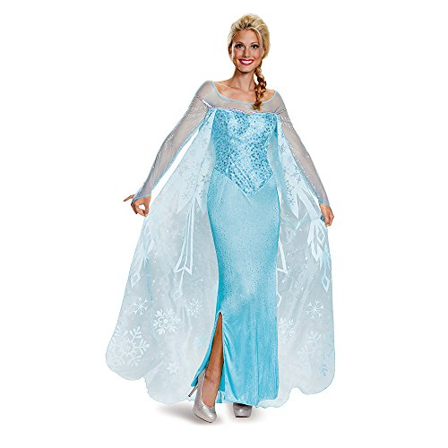 Disney Princesses Costumes Adults (Disney Women's Elsa Prestige Adult Costume, Blue, Large)