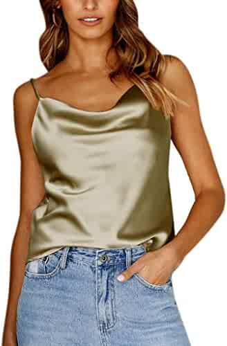Colmkley Womens Casual Bright Silk O Neck Loose Short-Sleeved Shirt Blouse Tops