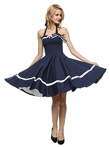 Maggie Tang Women S 1950s Halter Vintage Rockabilly Dress