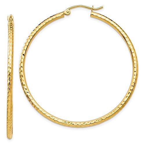 14k Patterned Hoop Earrings - 2 mm Patterned Hoop Earrings in Genuine 14k Yellow Gold - 45 mm