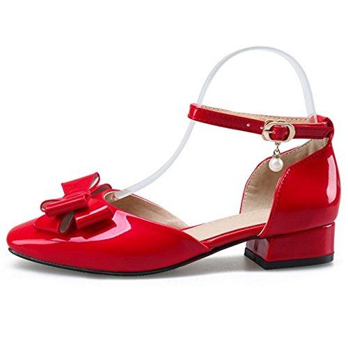TAOFFEN alla Donna Cinturino Sandali Caviglia Red Fiocco PSvPWqd