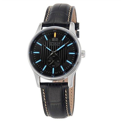 EPOCH 6021GN waterproof tritium gas blue luminous leather strap black dial mens business quartz watch wristwatch -  EPOCH 6021GN blue leather black