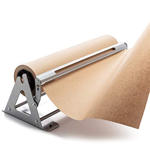 "Paper Roll Cutter | Butcher Paper Dispenser | Heavy Duty 18"" Paper Roll Holder and Cutter - Sturdy Construction, Rubber Feet, Tabletop, Wall Mount, Serrated Edge - for Freezer Paper Roll and Kraft"