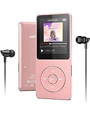 MP3Player, AGPTEK 16 GB Bluetooth 4.0 MP3-speler met koptelefoon, 1,8 inch 70 uur speeltijd digitale kinder mp3 speler FM radio, tot 128 G SD-kaart, rose goud
