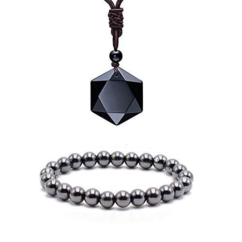 Black Obsidian Hexagram Natural Stone Pendant Necklace and Hematite Bracelet Hematite Metal Bracelets