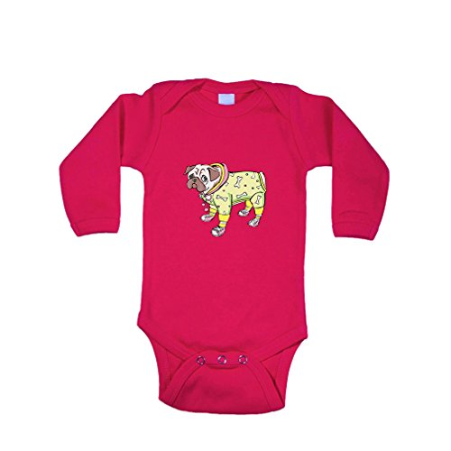 [Dog in Costume And Shoes Cotton Long Sleeve Baby Bodysuit One Piece Hot Pink Newborn] (Hot Dog Baby Costumes)