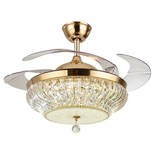 (NAF Ceiling Fan Light Invisible Transparent Blade with Remote Control 42 inch LED Crystal Chandelier 6 speeds 3-Color dimming Hotel Silent Fan with Light)