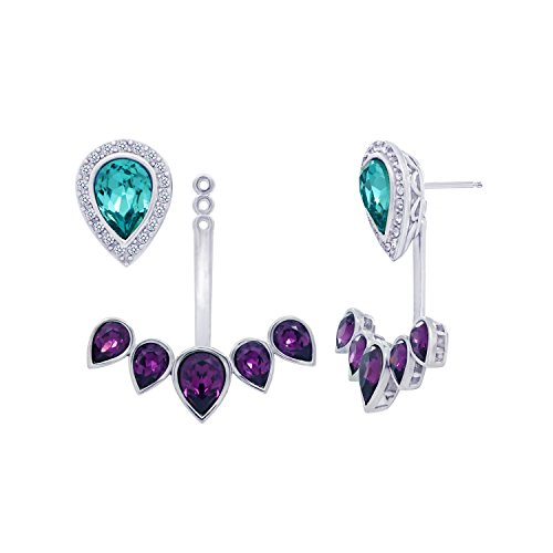 Platinum-Plated Swarovski Crystal Crystal Pear Purple 2-Way Earrings Jacket by Amazon Collection