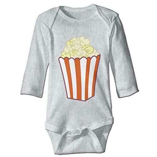 (Baby Long Sleeve Bodysuit Popcorn Food Strip Snap Closure Toddler Baby Girls Boys Layette Romper)