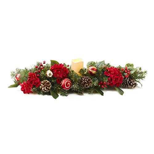 The Lakeside Collection Holiday Table Accent Lighted Centerpiece - Ornaments and Pine Cones 35""