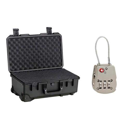 Pelican iM2500 Case with Wheels, Watertight, Padlockable Case, with Multilayer Cubed Foam Interior, Black - with Flashpoint TSA Combination Luggage/Case Lock