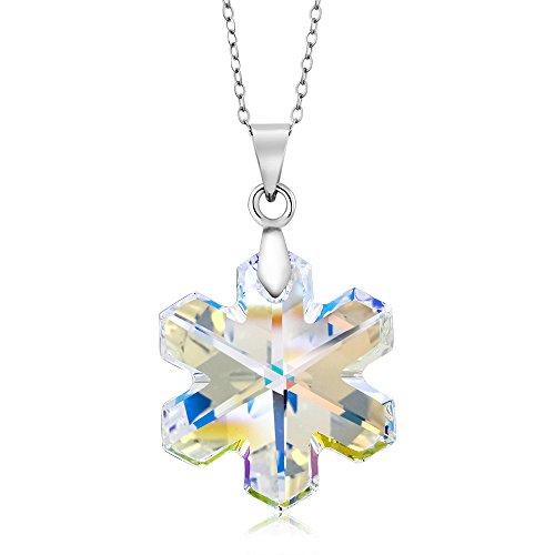 Aurora Stones (Gem Stone King Aurore Boreale Snowflake Pendant on 18