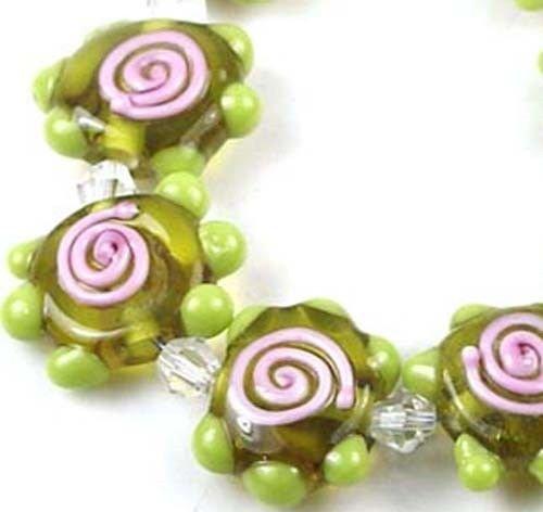 Lampwork Handmade Glass Chartreuse Pink Swirl Disc Beads (8) ()