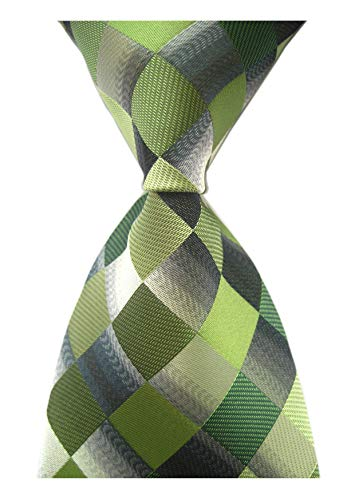 (Secdtie Men's Classic Checks Dark Blue Grey Jacquard Woven Silk Tie Necktie (One Size, Green))