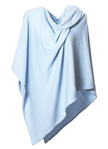 Anna Kristine Asymmetrical 100% Cashmere Draped Poncho Topper - Light Blue by Anna Kristine