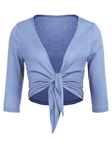 Blue Long Sleeve Sweater (Concep Tie Knot up Shrug Cropped Bolero Shrugs Cardigan Women's Ladies Long Sleeve Open Top (Light Blue, M))