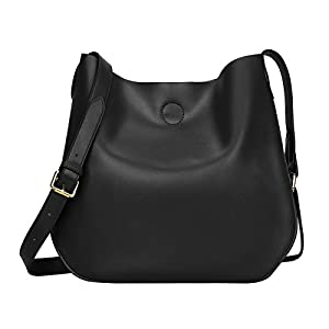 S-ZONE Leather Crossbody Bag Simple Shoulder Bag Drew Purse for Ladies