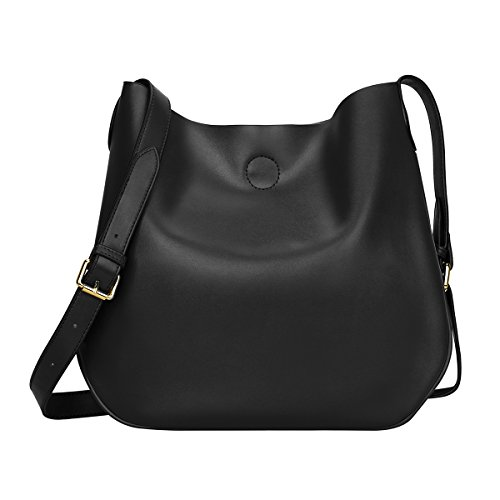 S-ZONE Small Leather Crossbody Bag Simple Shoulder Bag for Ladies (Purse S)