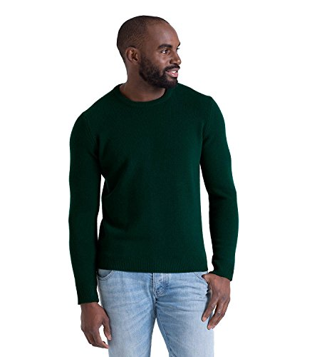 WoolOvers Mens Lambswool Crew Neck Sweater Bottle Green, (Lambswool Crew Neck Sweater)
