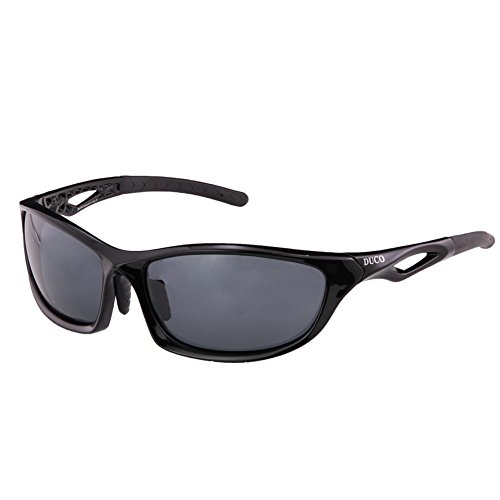 Duco Polarized Sunglasses for all Outdoor sports and 100% TR 90 Flexible Frame 6211 Black Frame Grey Lens