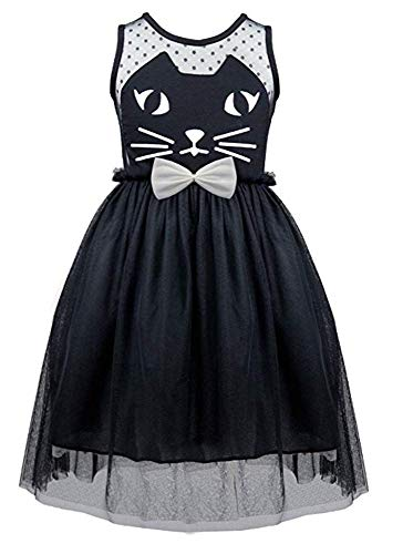 HILEELANG Little Girl Pageant Costume Cat Halloween Cosplay Witch Hat Holiday Party Dress