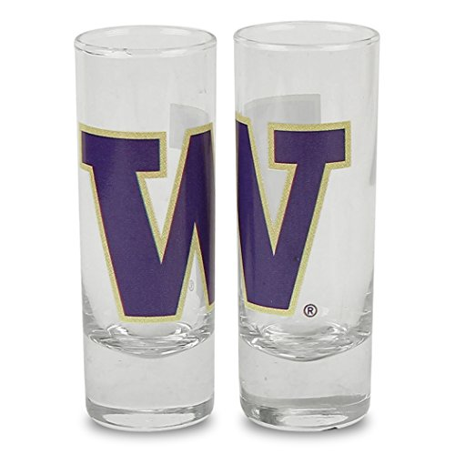 NCAA Color Team Logo 2oz Cordial Shot Glass 2-Pack (Washington Huskies)