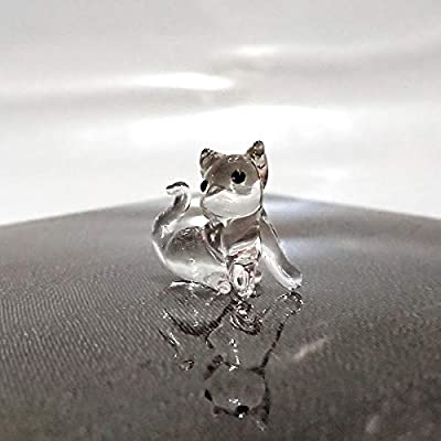Sansukjai Rare Cat Tiny Micro Crystal Figurines Hand Blown Clear Glass Art Animals Collectible Gift Home Decor