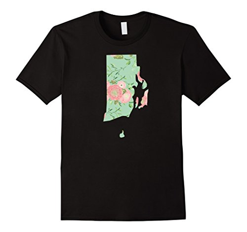 Mens Rhode Island State Shirt: Home Native Born Flower Pattern Te Large Black